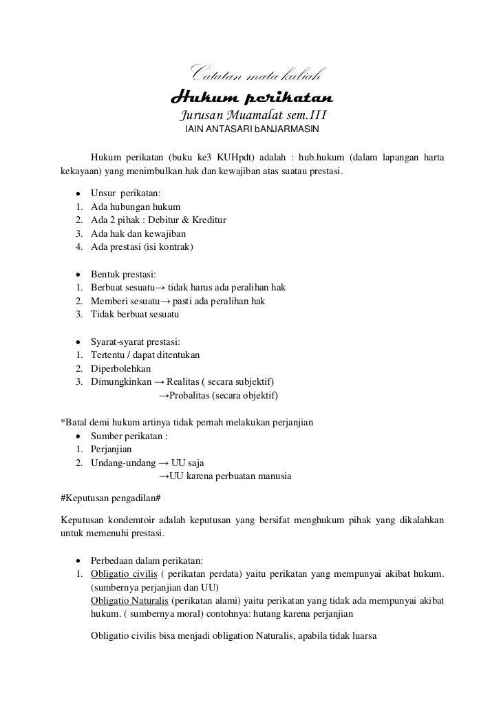Catatan mata kuliah                            Hukum perikatan                              Jurusan Muamalat sem.III      ...