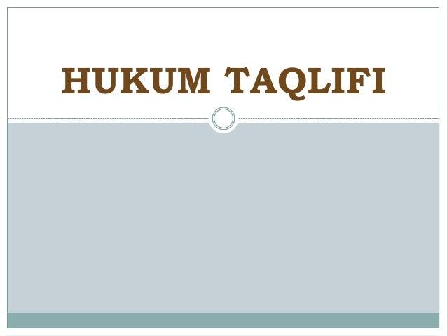 HUKUM TAQLIFI