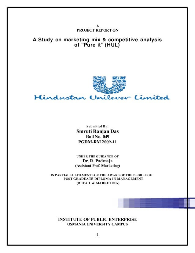 project report on strategic management on hul