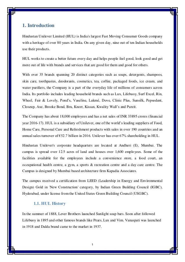 A Report On The Financial Analysis Of Hindustan Unilever