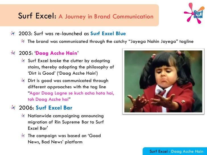 daag acche hai essay Swot analysis of the detergent powder surf excel (a famous product and famous brand of hindustan unilever limited) assignment submitted by, assignment submitted to.