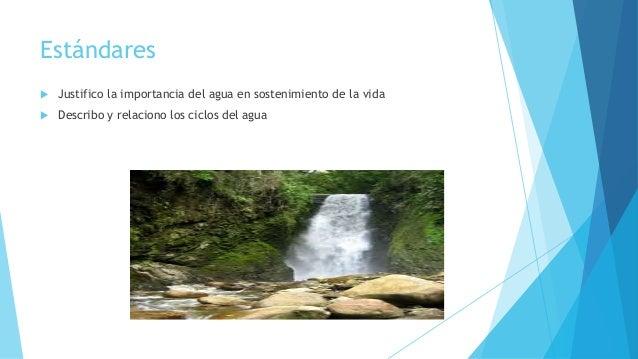 Estándares  Justifico la importancia del agua en sostenimiento de la vida  Describo y relaciono los ciclos del agua
