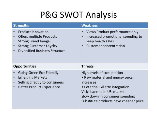 swot p g Swot analysis strengths: there are a lot strengths that have lead p&g into becoming one of the titans in the factors that include: innovation brand building scale.