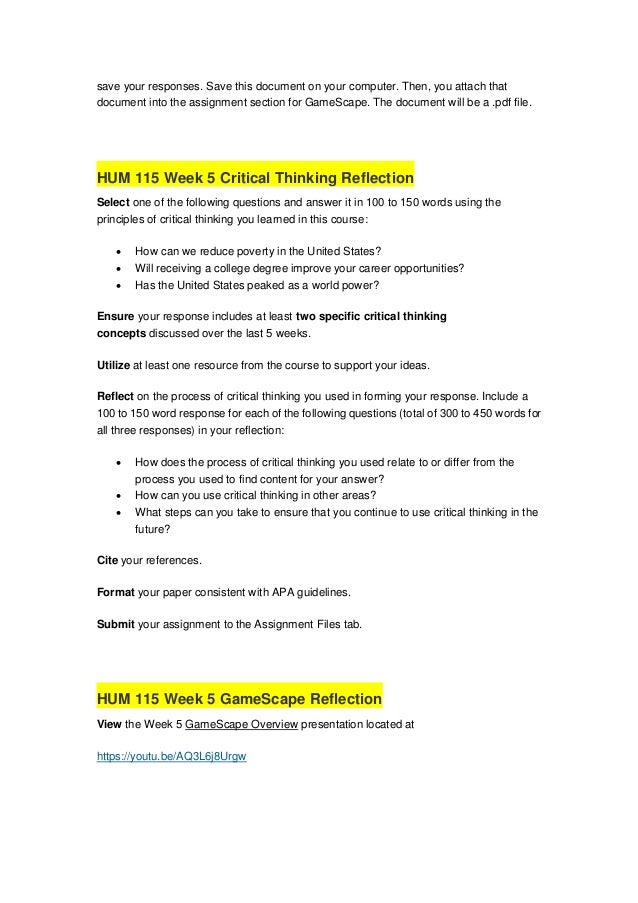 stages of critical thinking worksheet hum 115
