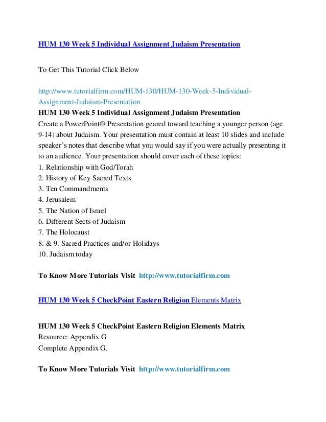 HUM 130 WEEK 5 Judaism Worksheet