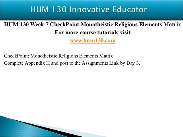 hum 130 appendix h monotheistic religions elements matrix checkpoint Management planning presentationmgt/230 vivian lizama 11/8/2012 bonnie mason uopx the functions of management uniquely describe managers.