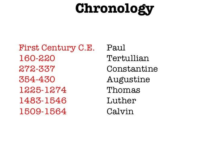 <ul><li>Chronology </li></ul>First Century C.E. Paul 160-220 Tertullian 272-337 Constantine 354-430 Augustine 1225-1274 Th...