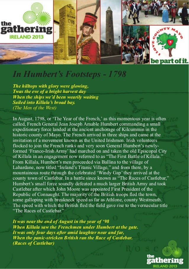 In Humbert's Footsteps - 1798The hilltops with glory were glowing,Twas the eve of a bright harvest dayWhen the ships we'd ...