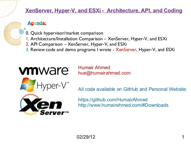 XenServer, Hyper-V, and ESXi - Architecture, API, and CodingAgenda:0. Quick hypervisor/market comparison1. Architecture/In...
