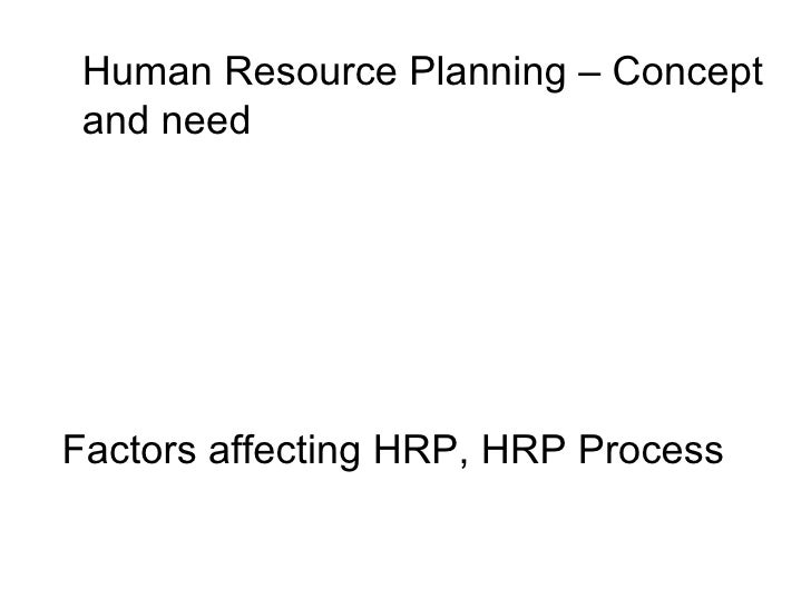Human Resource Planning – Concept and need Factors affecting HRP, HRP Process