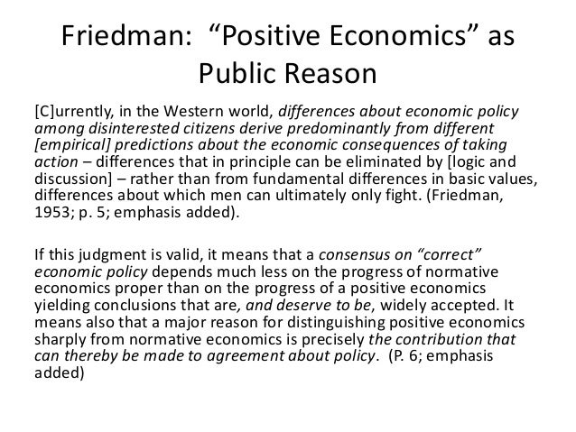 friedman m 1953 essays in positive economics