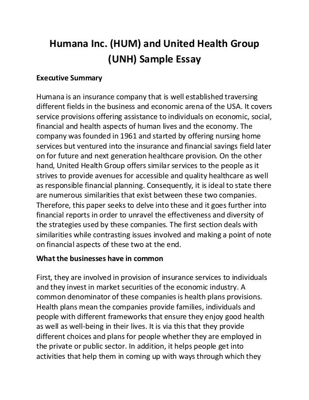 Humana Inc Hum And United Health Group Unh Sample Essay Humana Inc Hum And United Health Group Unh Sample Essay Executive