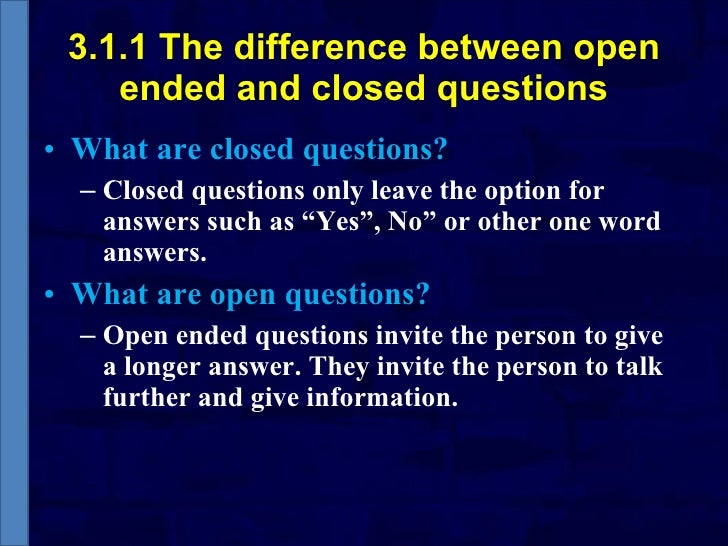 difference between open ended and closed ended questions pdf