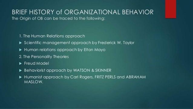 history of human behavior in organization