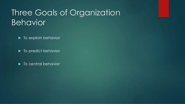 goals organizational behavior Course description and learning goals this hcp course substitutes for ba 304:  management and organizational dynamics although we cover many of the.