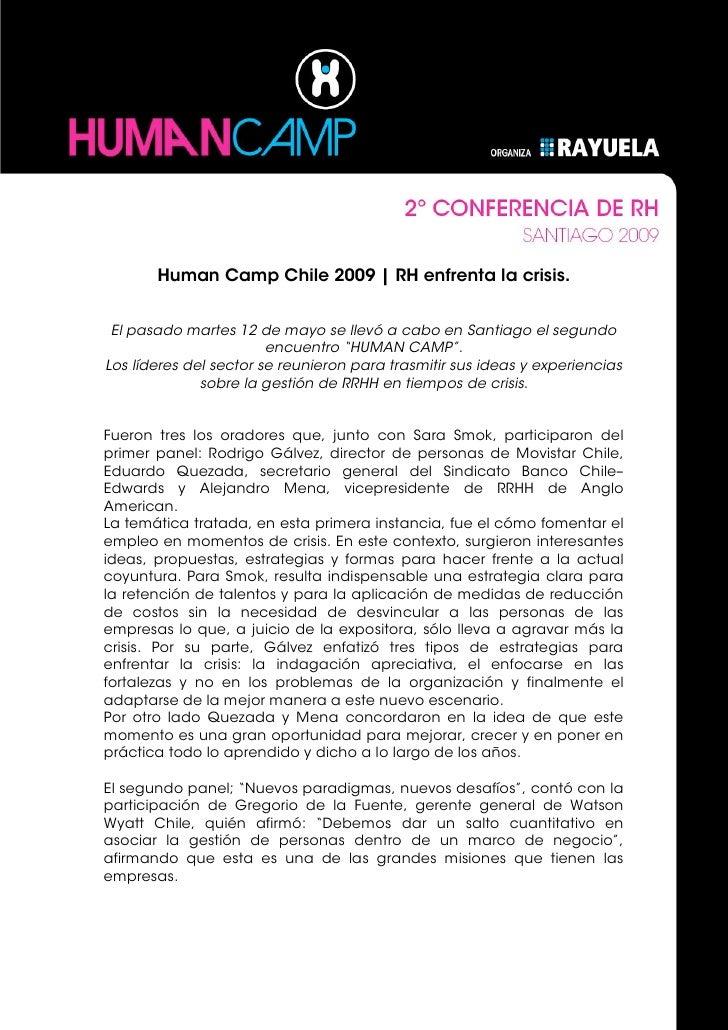 Human Camp Chile 2009 | RH enfrenta la crisis.    El pasado martes 12 de mayo se llevó a cabo en Santiago el segundo      ...