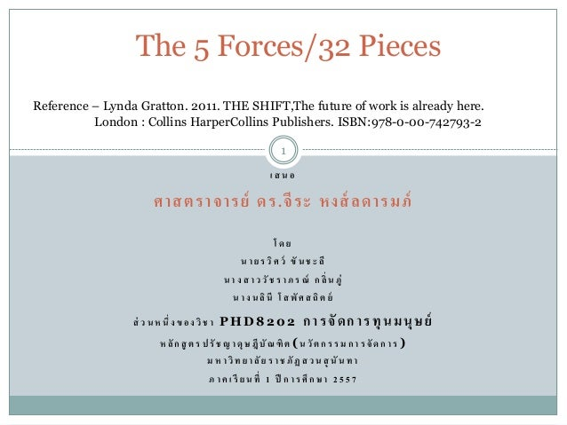 The 5 Forces/32 Pieces  Reference – Lynda Gratton. 2011. THE SHIFT,The future of work is already here.  London : Collins H...