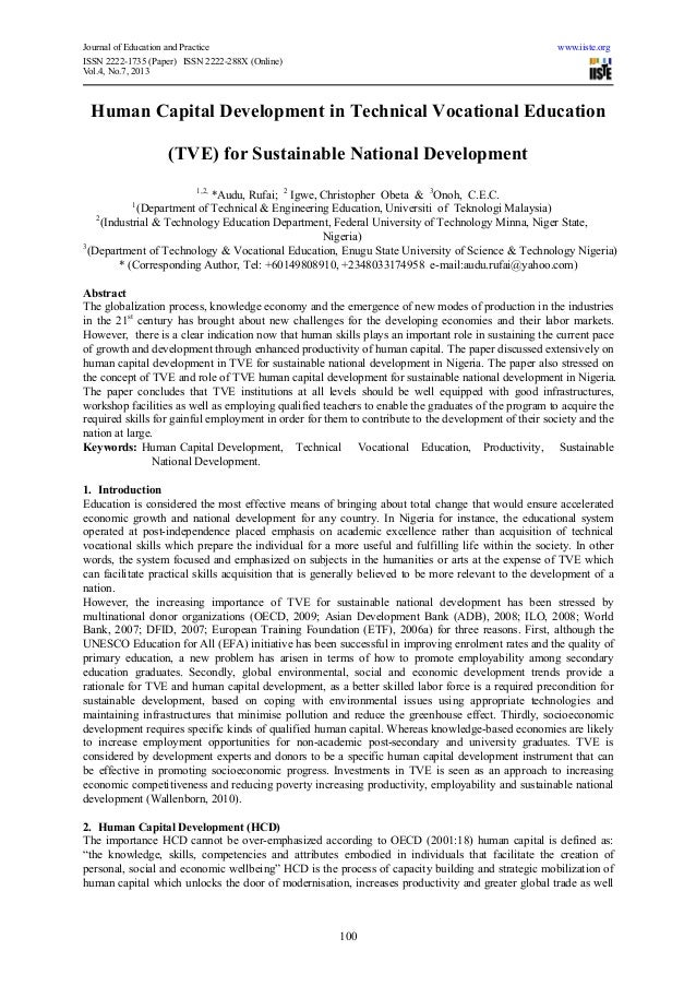 human capital development in technical vocational education tve for  journal of education and practice iiste orgissn 2222 1735 paper