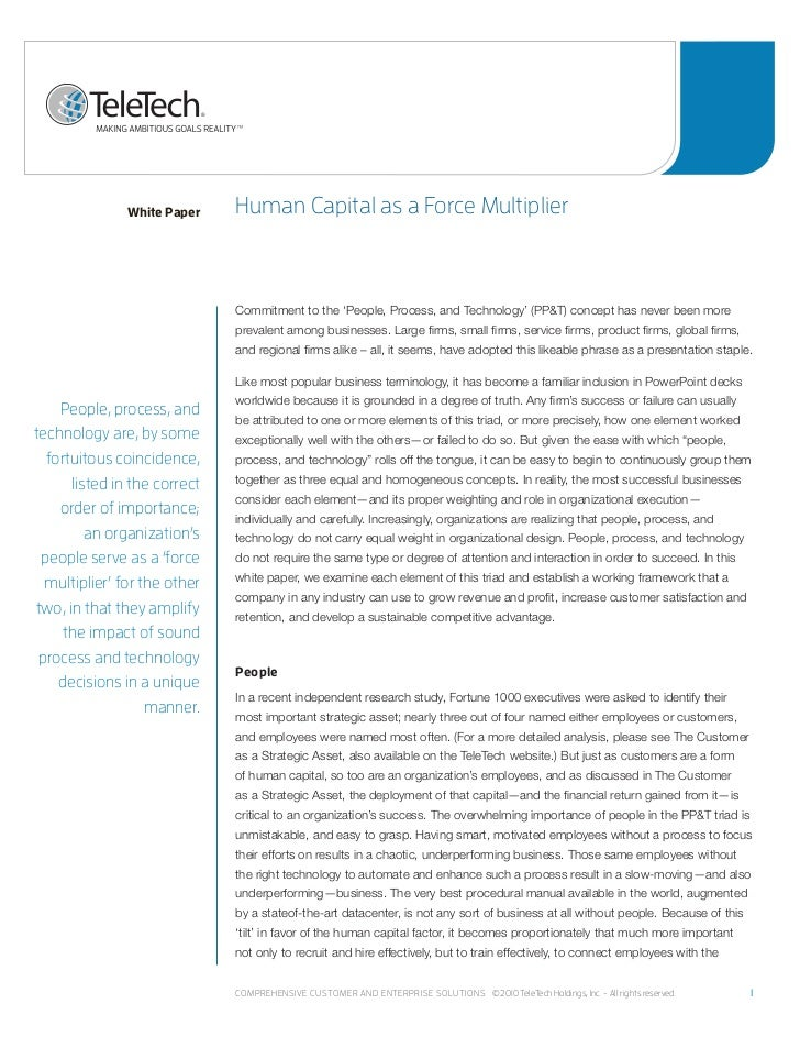 White Paper    human Capital as a Force multiplier                              Commitment to the 'People, Process, and Te...