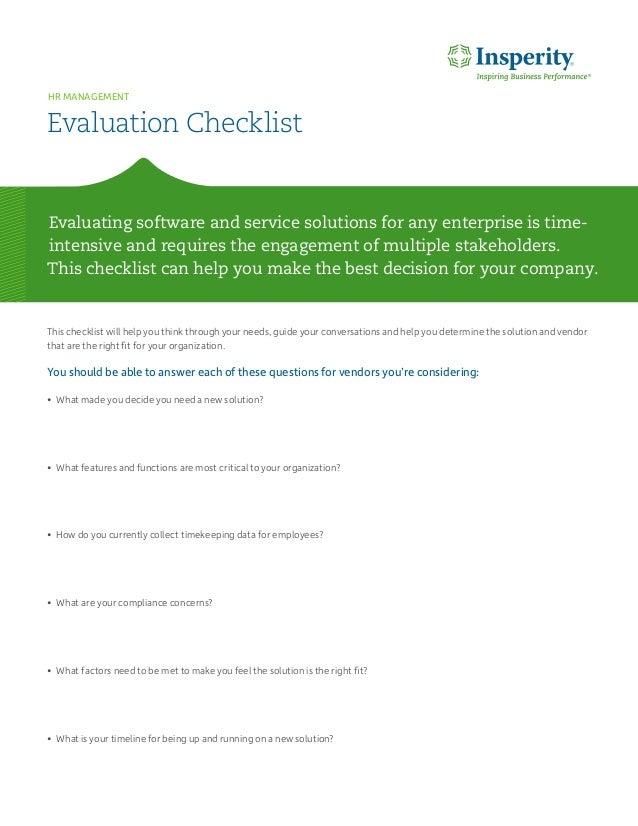 Human Capital Management: Vendor Checklist