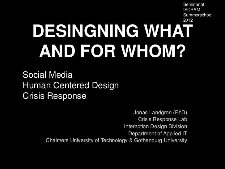 Seminar at                                                              ISCRAM                                            ...