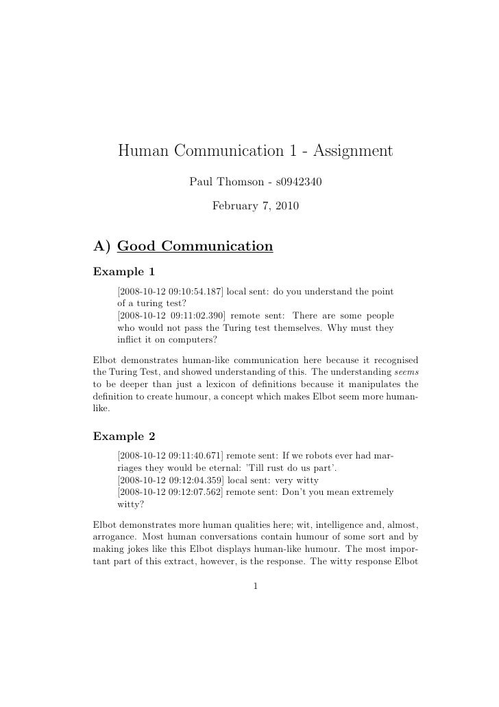 Human Communication 1 - Assignment                       Paul Thomson - s0942340                             February 7, 2...