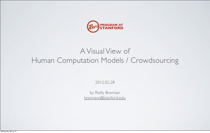 A Visual View of                       Human Computation Models / Crowdsourcing                                          2...
