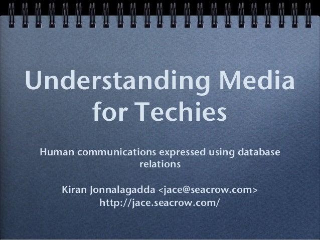 Understanding Media for Techies Human communications expressed using database relations Kiran Jonnalagadda <jace@seacrow.c...