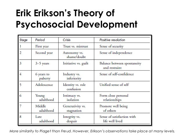 Erik erikson stages of human development essay