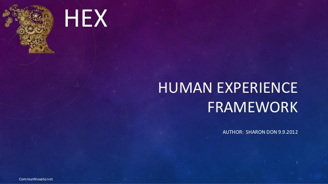 HUMAN EXPERIENCE FRAMEWORK AUTHOR: SHARON DON 9.9.2012 1 HEX CommunNovate.net