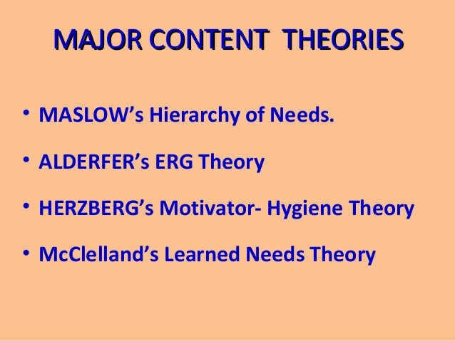 erg theory examples The erg theory allows the order of the needs be different for different people the erg theory acknowledges that if a higher level need remains unfulfilled, the person may regress to lower level needs that appear easier to satisfy.