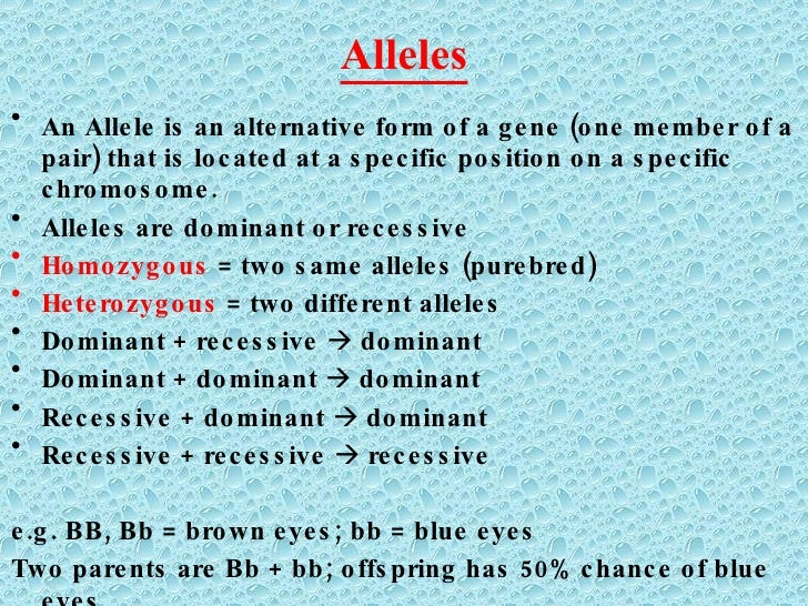 Alleles <ul><li>An Allele is an alternative form of a gene (one member of a pair) that is located at a specific position o...