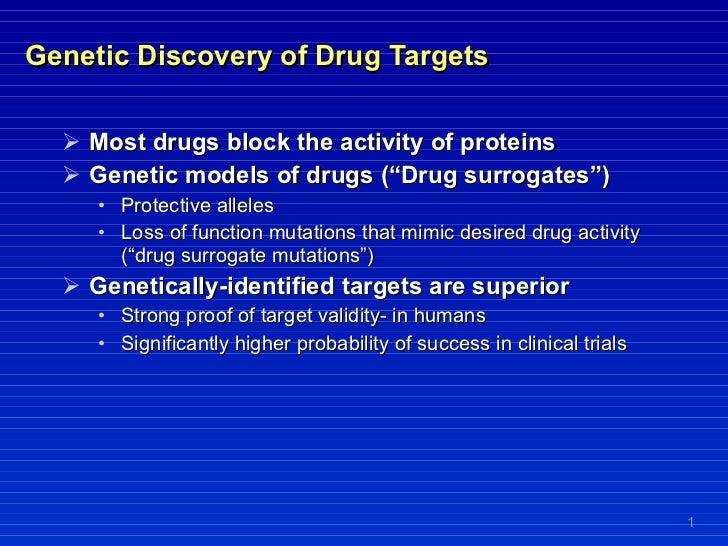 Genetic Discovery of Drug Targets <ul><li>Most drugs block the activity of proteins </li></ul><ul><li>Genetic models of dr...