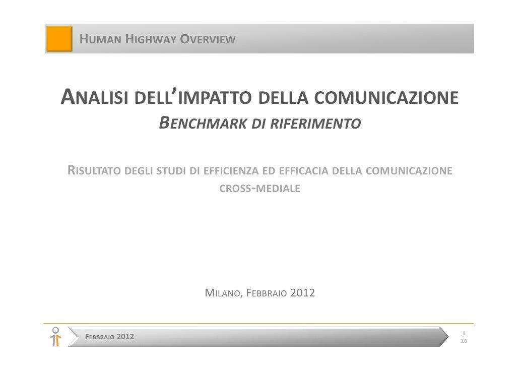 HUMAN HIGHWAY OVERVIEWANALISI DELL'IMPATTO DELLA COMUNICAZIONE                   BENCHMARK DI RIFERIMENTORISULTATO DEGLI S...