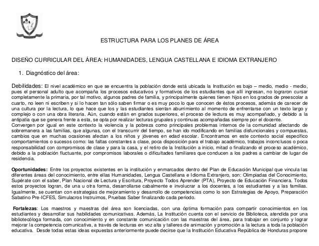 ESTRUCTURA PARA LOS PLANES DE ÁREA DISEÑO CURRICULAR DEL ÁREA: HUMANIDADES, LENGUA CASTELLANA E IDIOMA EXTRANJERO 1. Diagn...