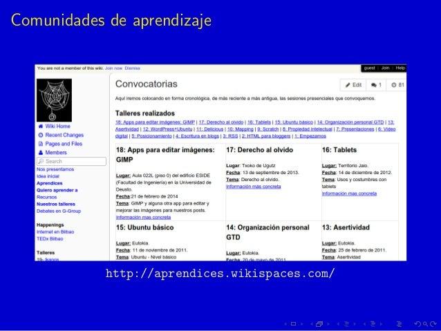 Comunidades de aprendizaje http://aprendices.wikispaces.com/
