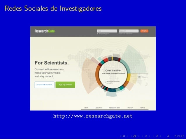 Redes Sociales de Investigadores http://www.researchgate.net