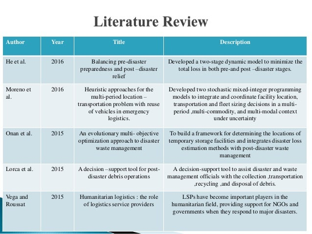 Literature Review on Humanitarian Logistics