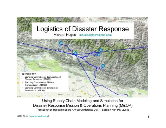 SCM Globe (www.scmglobe.com) 1 Logistics of Disaster Response Michael Hugos – mhugos@scmglobe.com Using Supply Chain Model...
