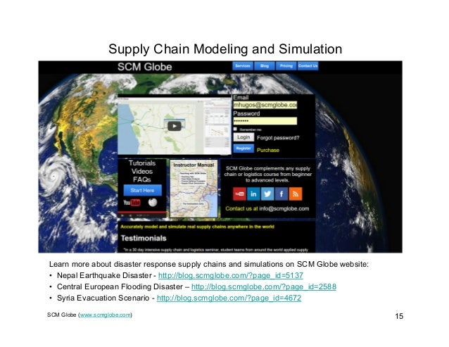 SCM Globe (www.scmglobe.com) 15 Supply Chain Modeling and Simulation Learn more about disaster response supply chains and ...