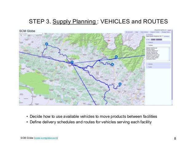 SCM Globe (www.scmglobe.com) 8 STEP 3. Supply Planning : VEHICLES and ROUTES • Decide how to use available vehicles to mov...