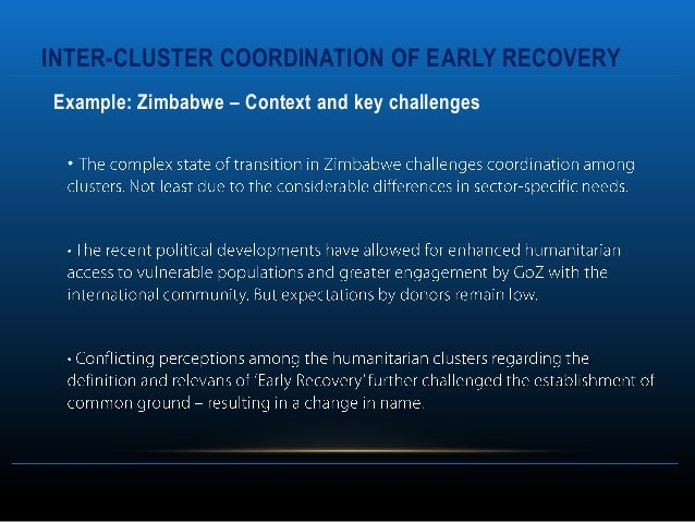 INTER-CLUSTER COORDINATION OF EARLY RECOVERYExample: Zimbabwe – Context and key challenges