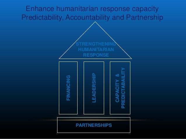 Enhance humanitarian response capacityPredictability, Accountability and Partnership                          STRENGTHENIN...