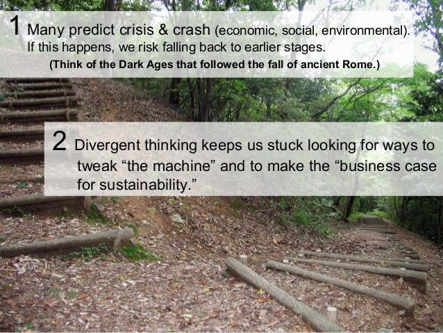 1 Many predict crisis & crash (economic, social, environmental). If this happens, we risk falling back to earlier stages. ...