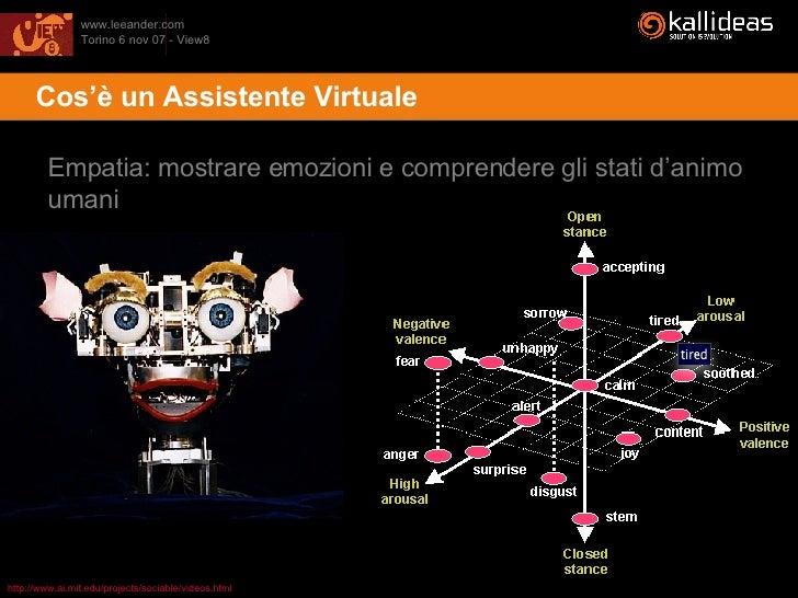 <ul><li>Cos'è un Assistente Virtuale </li></ul>Empatia: mostrare emozioni e comprendere gli stati d'animo umani http://www...
