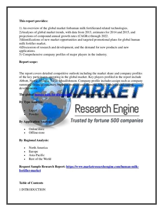 Human Milk Fortifier Market Scope, Size, Share, Analysis by 2022