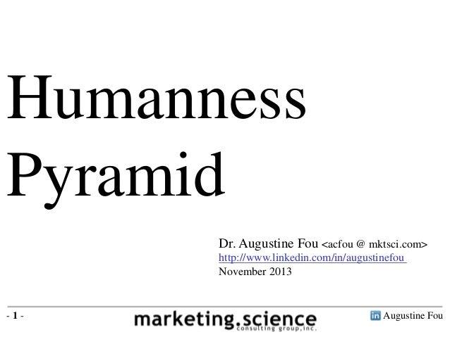 Augustine Fou- 1 - Humanness Pyramid Dr. Augustine Fou <acfou @ mktsci.com> http://www.linkedin.com/in/augustinefou Novemb...