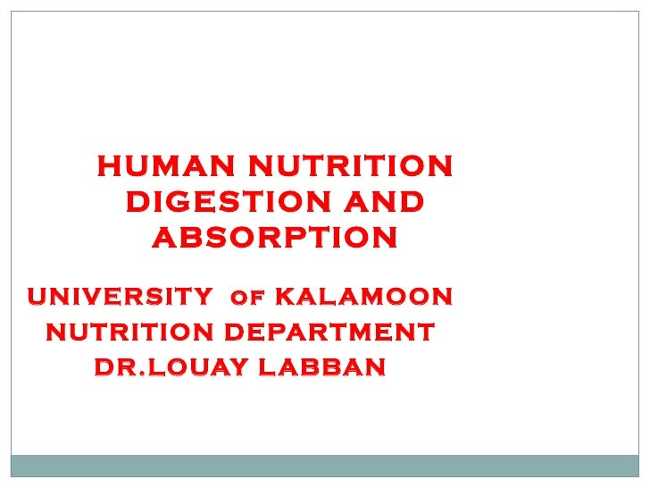 HUMAN NUTRITION DIGESTION AND ABSORPTION UNIVERSITY  of KALAMOON NUTRITION DEPARTMENT DR.LOUAY LABBAN
