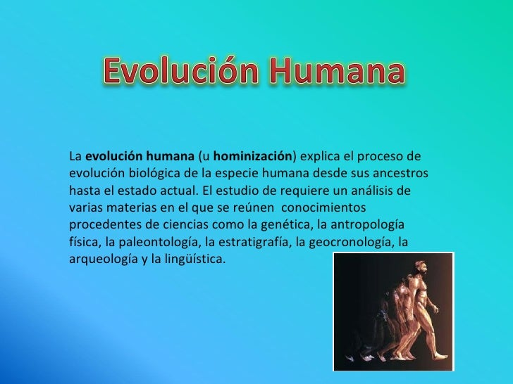 La  evolución humana  (u  hominización ) explica el proceso de evolución biológica de la especie humana desde sus ancestro...