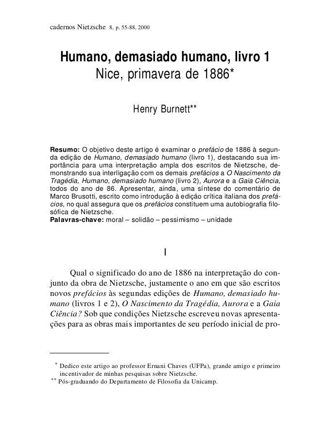 cadernos Nietzsche 8, p. 55-88, 2000     Humano, demasiado humano, livro 1         Nice, primavera de 1886*               ...